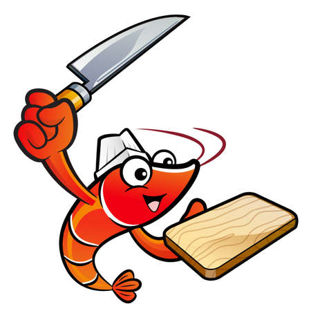 holding a knife: Shrimp Character is Holding a knife and cutting board.