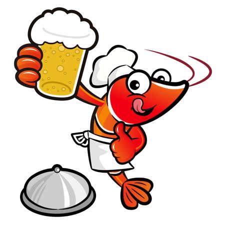 crustacea: Shrimp Character is drinking beer. Illustration