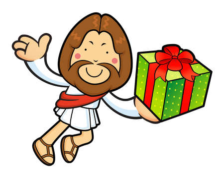 Jesus Character is holding a Gift Box and on Running. Illustration