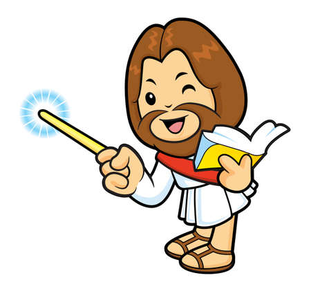 scriptures: Jesus mascot is holding a book and teaching. Illustration
