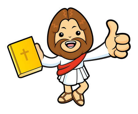 the scriptures: Jesus Character is holding a Bible and Best Gesture. Illustration