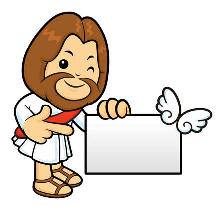 Jesus mascot has been directed towards business card. Illustration