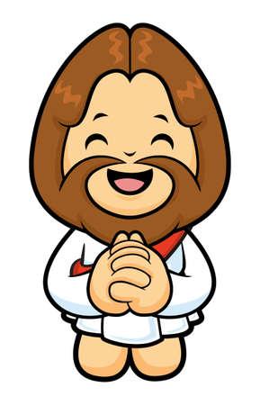 confessor: Jesus Character knee in prayer.