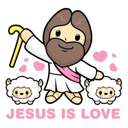 Jesus Character, the shepherds and the Sheep. Illustration