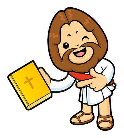 Jesus Character has been directed towards a Bible. Illustration
