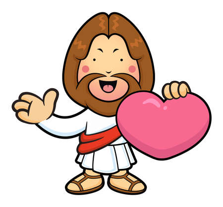 wooing: Jesus Character is holding a heart and guides gesture. Illustration
