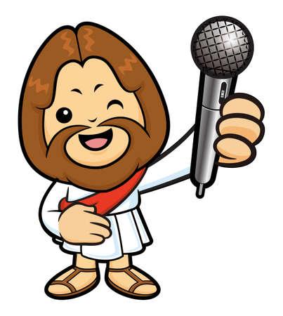 spoken: Jesus Character is spoken over a Microphone. Illustration