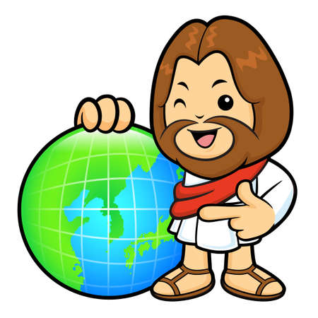 Jesus Character is instructing holding a globe.