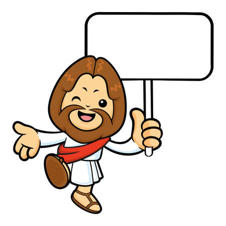 picket: Jesus Character is hand guides gestures and holding a picket. Illustration