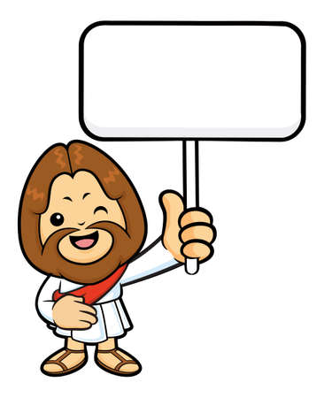 splashed: Jesus Character is splashed to hold a picket.