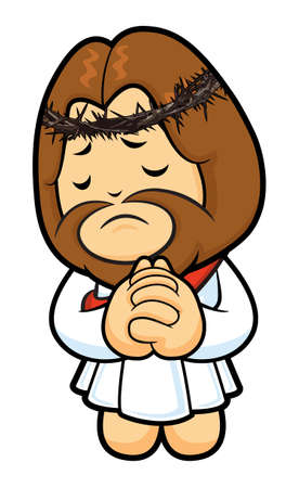 vespers: Jesus Character offered up prayers to God the Father. Illustration