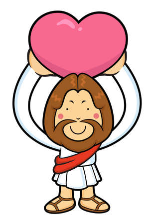 wooing: Jesus character is overhead holding a heart. Illustration