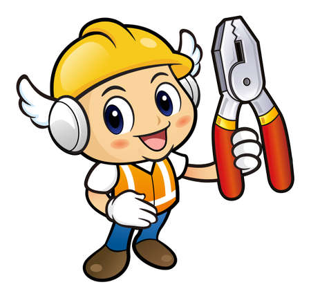 pincers: Construction worker mascot is holding a with both pincers. Illustration
