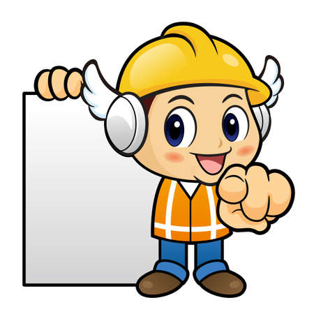 instructs: Construction worker Character it instructs holding order page. Illustration