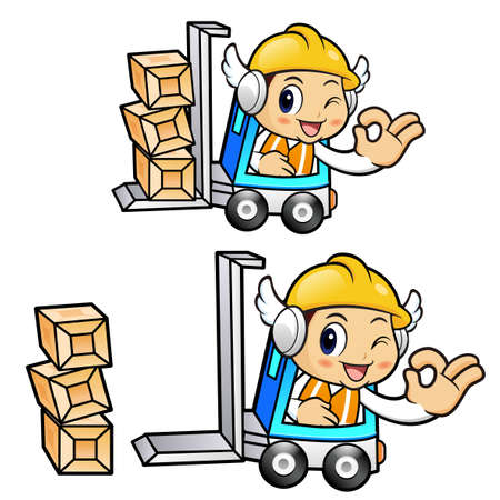 package deliverer: The forklift truck in Construction worker Character is OK gestures.