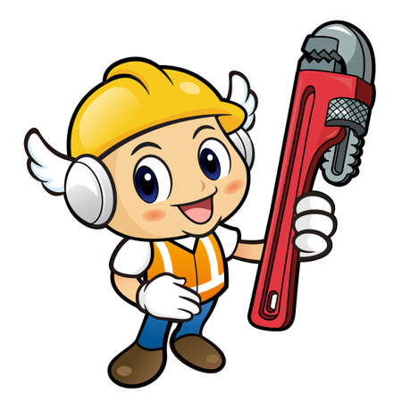 crash helmet: Construction worker Character is holding a wrench. Illustration