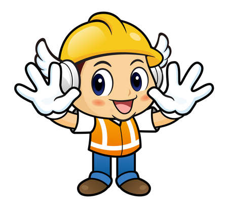 stricture: Construction worker mascot is No gestures of both hands.