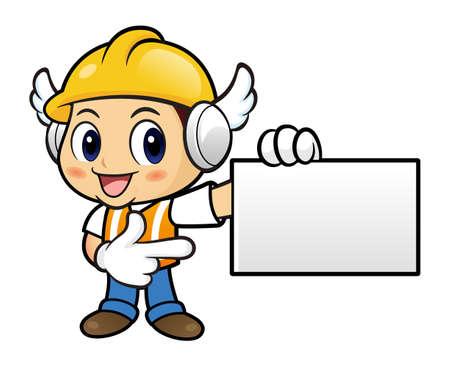 has been: Construction worker Character has been directed towards business card.
