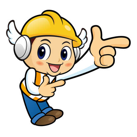 guides: Construction worker Character is guides gesture.