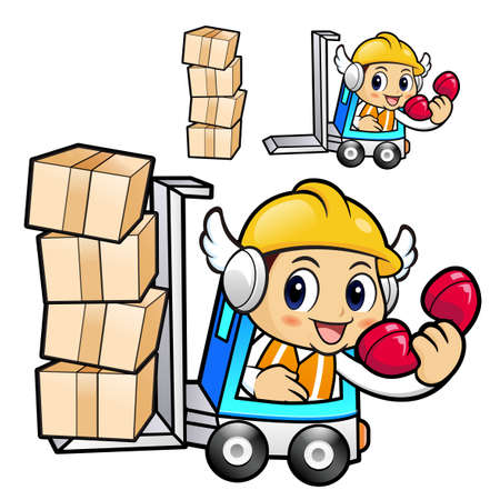 package deliverer: Construction worker Character is a phone call in a forklift. Illustration