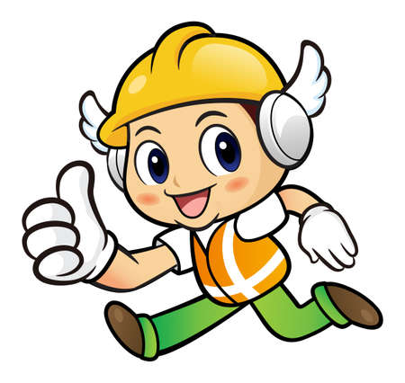 good news: Construction worker Character is communicate a Good News to Running.