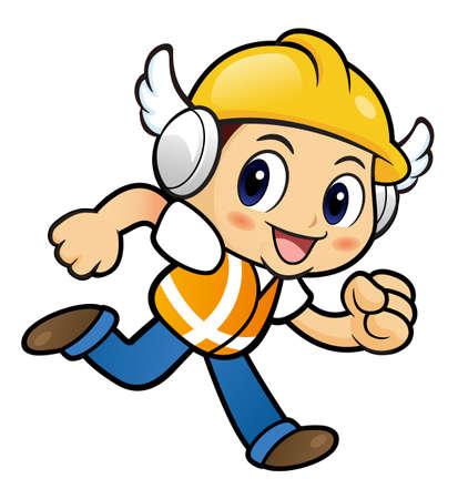 endeavor: Construction worker Character on Running. Illustration