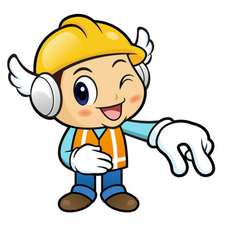 picking up: Construction worker Character is picking up finger gestures.