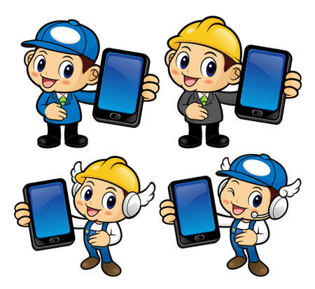 phonecall: Service Engineer Character is holding a smart phone. Illustration