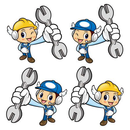 repairman: Repairman Character is holding a spanner. Illustration