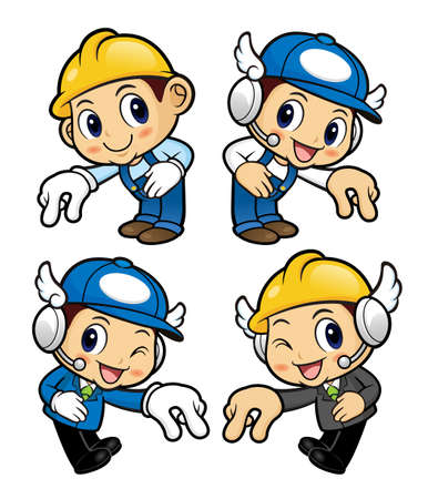 picking up: Repairman Character is picking up finger gestures. Illustration