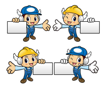 guides: Repairman Character is holding a business card and guides gesture.