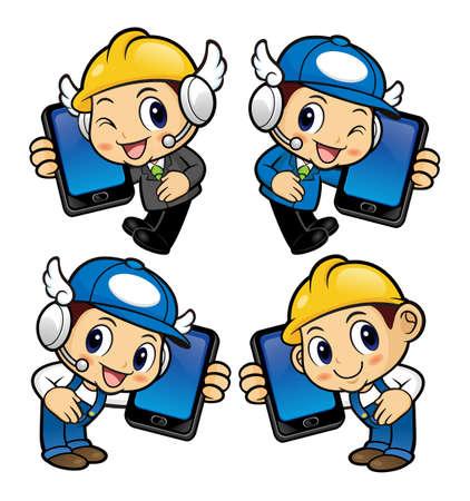has: Repairman Character has telephone conversation.