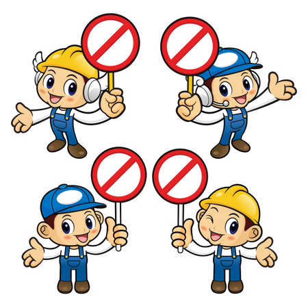 stricture: Repairman Character No gesture and is holding a sign picket.