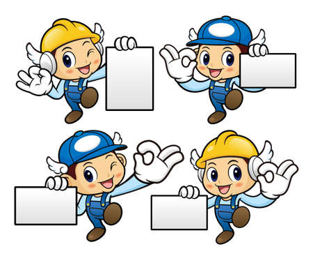 gestures: Repairman Character is OK gestures and holding a business cards.