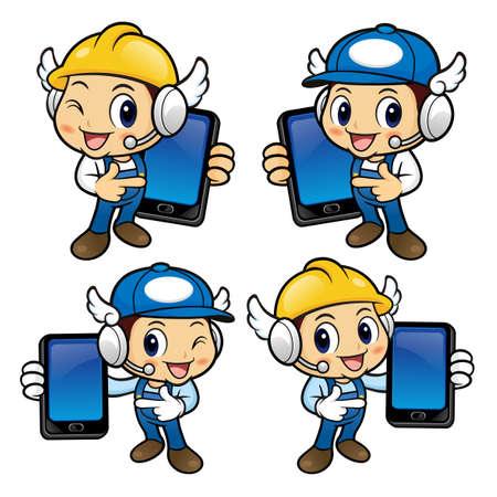phonecall: Repairman Character has been directed towards a smart phone. Illustration