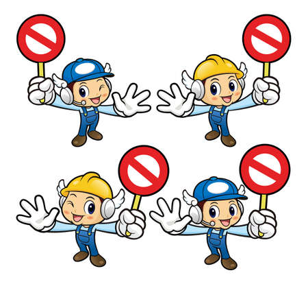 stricture: Service Engineer Character holding a picket warning gesture. Illustration