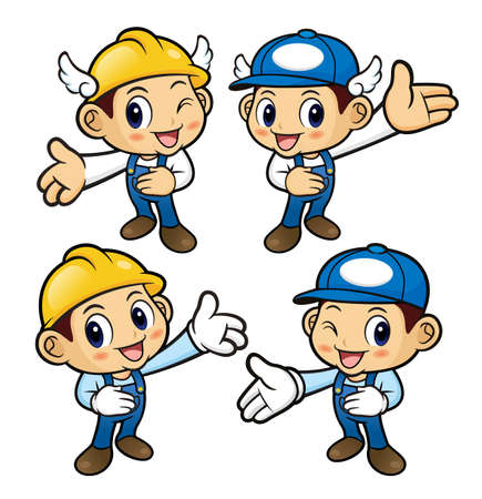 guides: Repairman Character is guides gesture.