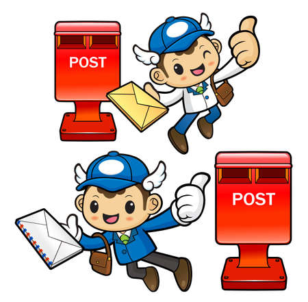 circulation of documents: Postman Character and mailbox.