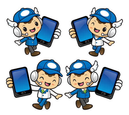phonecall: Delivery Man Character is Walks and holding a smart phone. Illustration