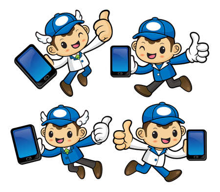 phonecall: Delivery Man Character is holding a smart phone and on Running.