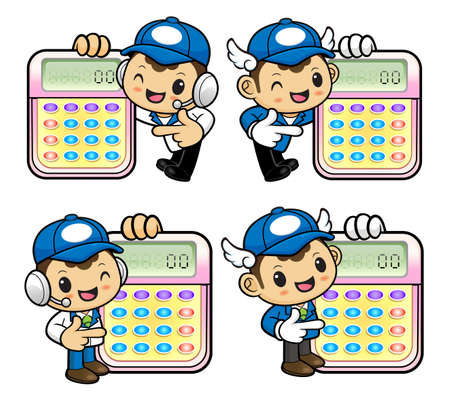 reckoning: Delivery Man Character is instructing holding a electronic calculator. Illustration