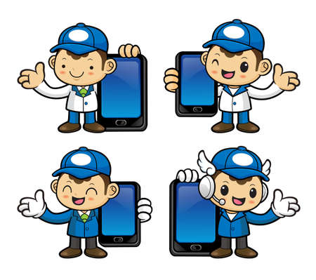 phonecall: Delivery Man Character is holding a smart phone.
