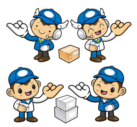 pinky: Postman Character is hook pinkies and make a promise. Illustration