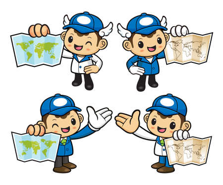 circulation of documents: Postman Character holding a Paper Map.