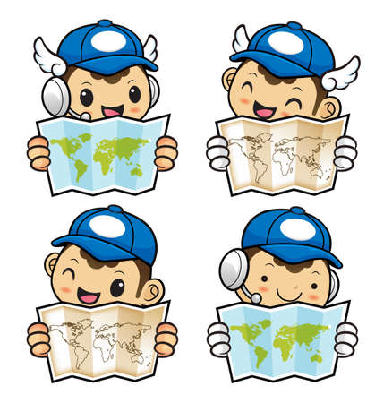 circulation of documents: Postman Character holding a Paper World Map with both hands..