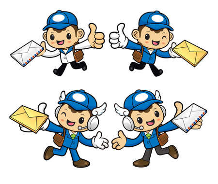 circulation of documents: Postman Character is having delivered letter.