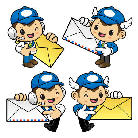 circulation of documents: Postman Character is instructing holding a Letter. Illustration