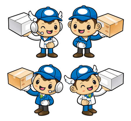 courier: Delivery Man Character is holding a Courier box.