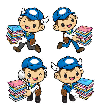bundle of letters: Postman Character is having delivered bundle of letters.