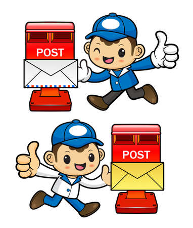 circulation of documents: Postman Character and letterbox.